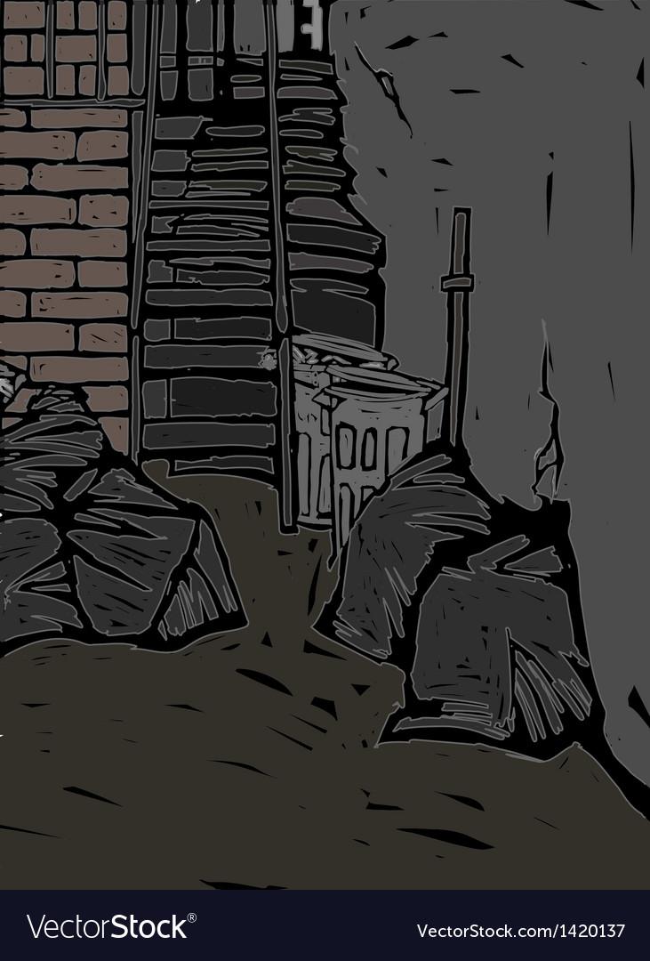 Alleyway scene vector | Price: 1 Credit (USD $1)