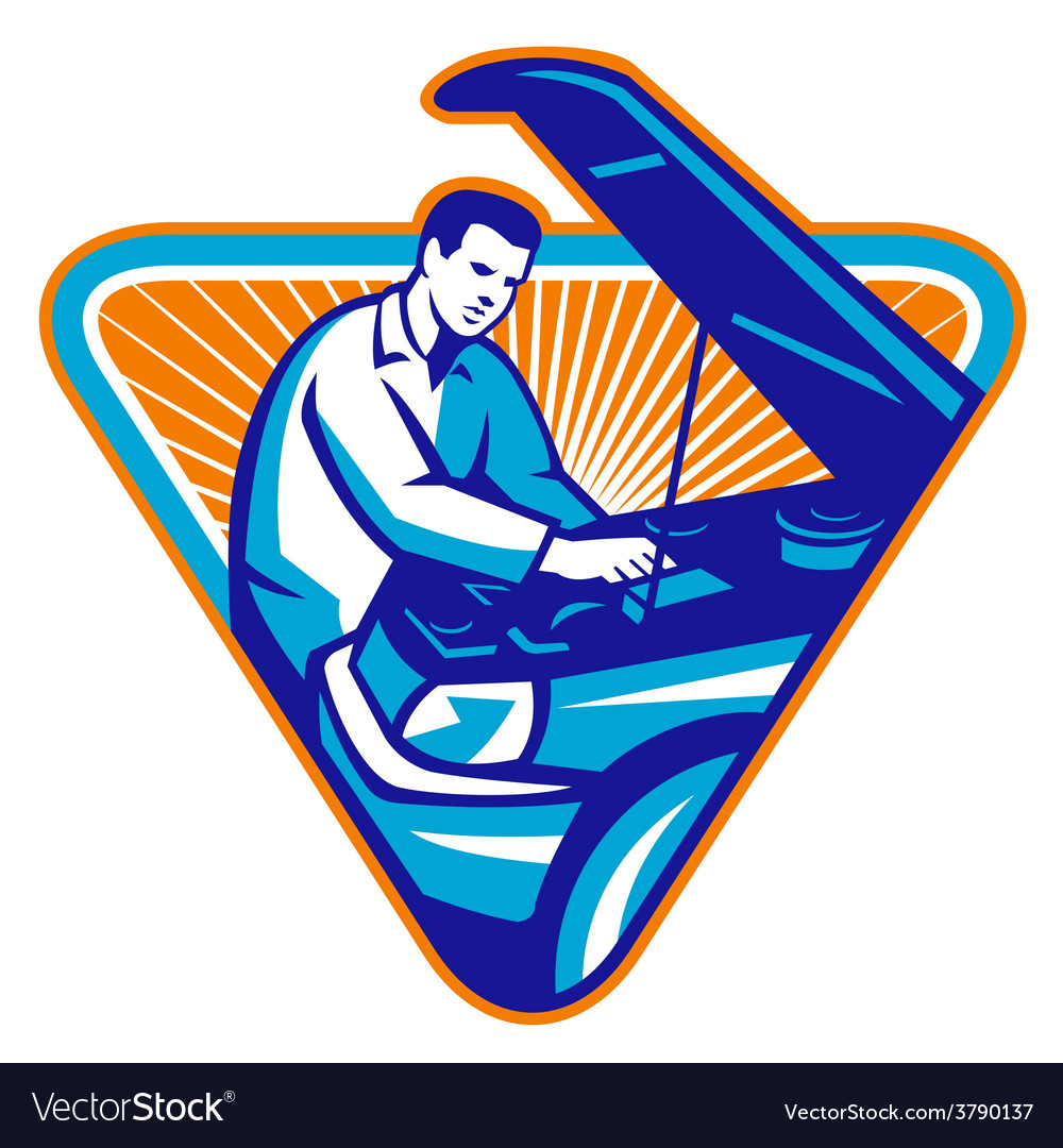 Automobile mechanic repair car retro vector | Price: 1 Credit (USD $1)