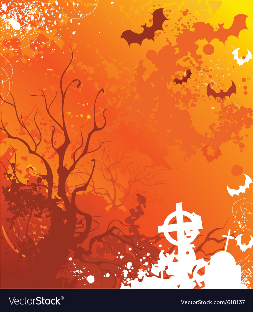 Background on halloween with withered trees and ab vector | Price: 1 Credit (USD $1)