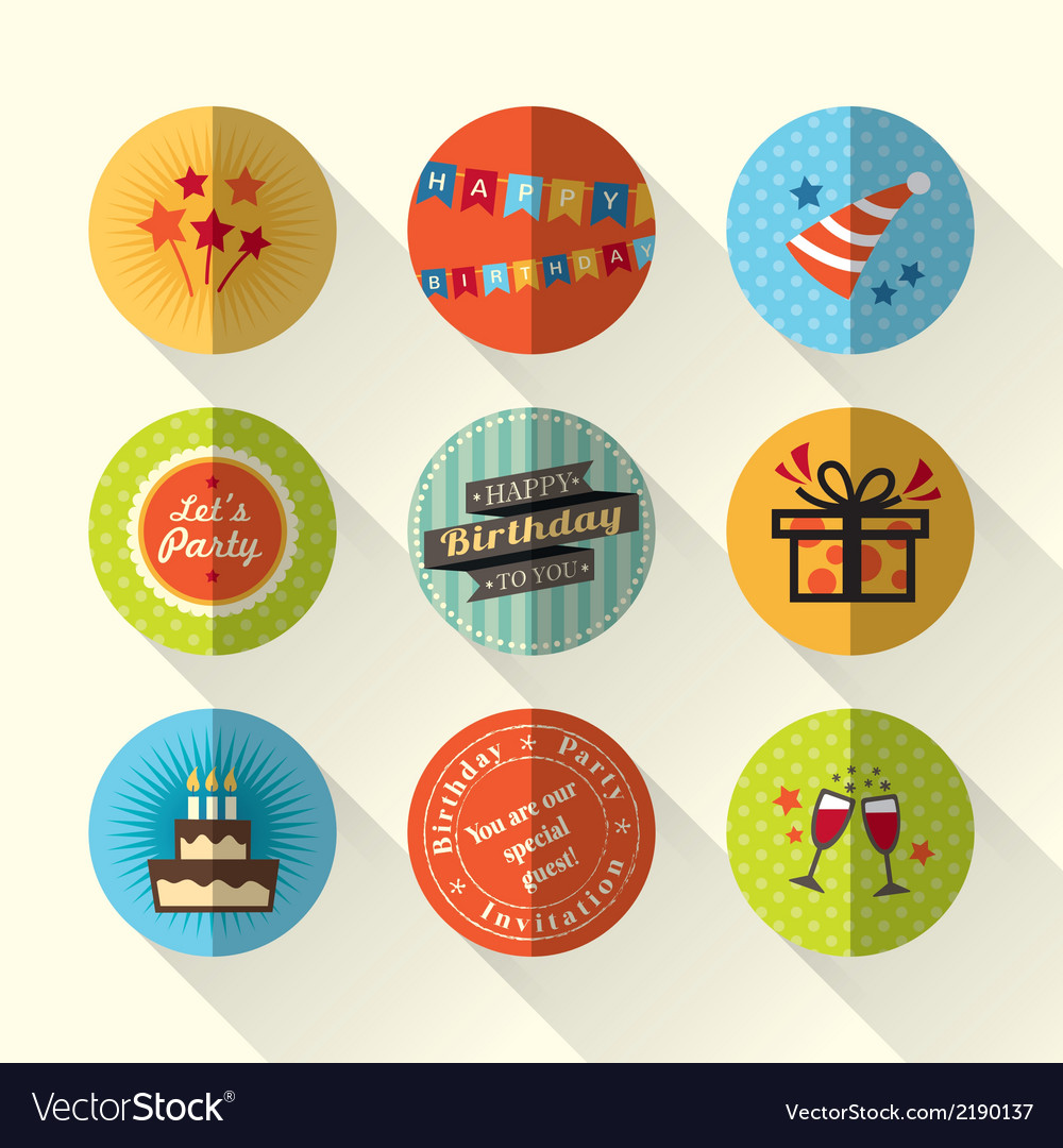 Birthday party flat icon set vector | Price: 1 Credit (USD $1)