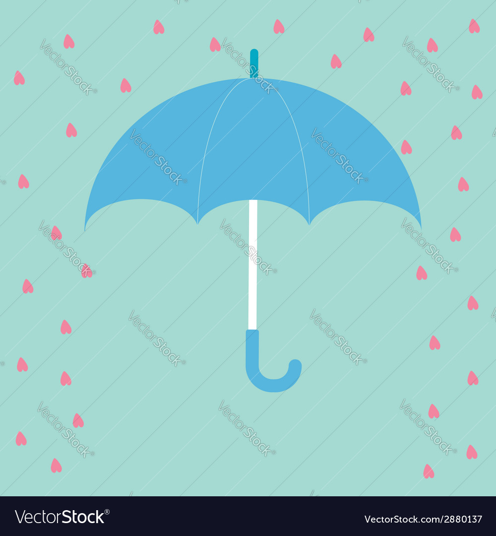 Blue umbrella with rain hearts love card flat desi vector | Price: 1 Credit (USD $1)