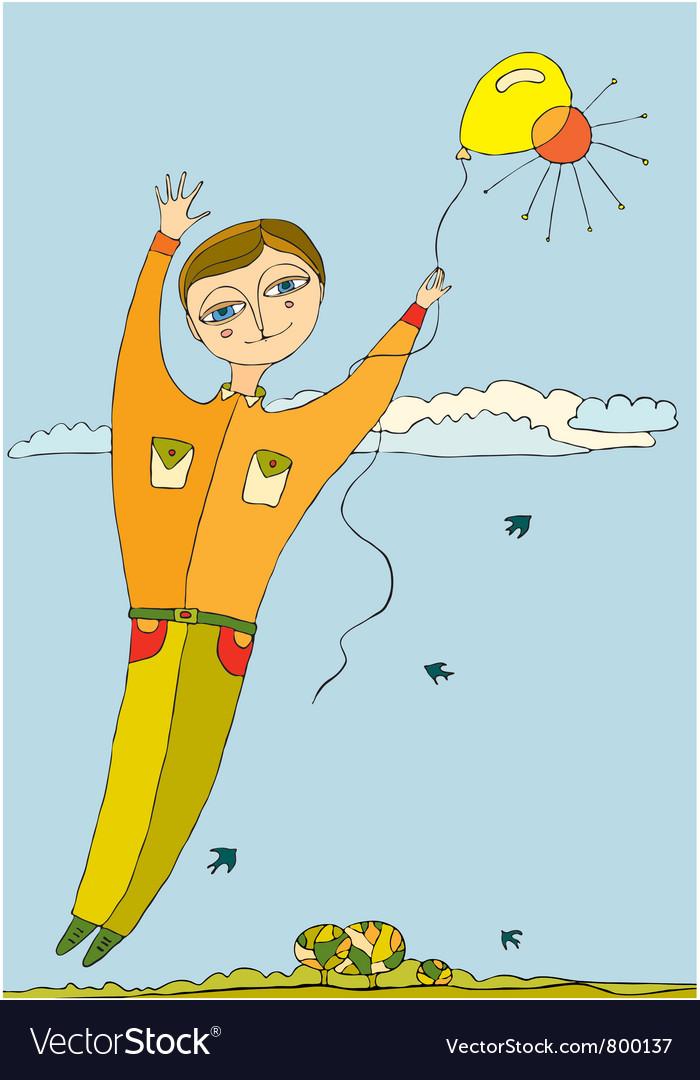 Boy fly balloon vector   Price: 3 Credit (USD $3)