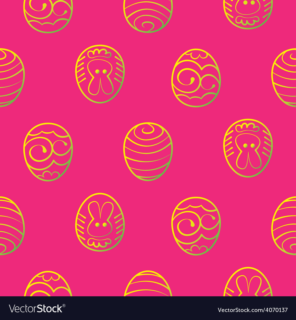 Easter seamless background decorated eggs on a red vector | Price: 1 Credit (USD $1)