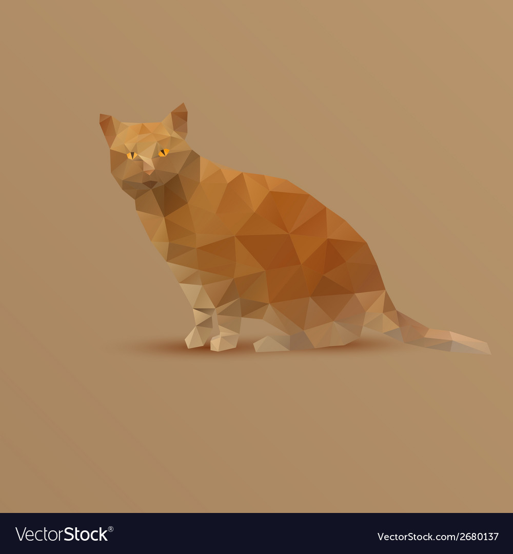 Fat yellow triangle cat vector | Price: 1 Credit (USD $1)