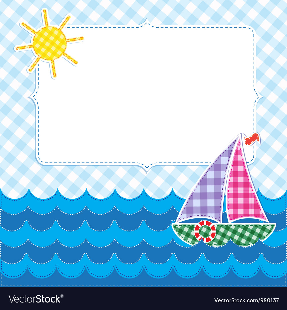 Frame with colorful sailboat vector | Price: 1 Credit (USD $1)