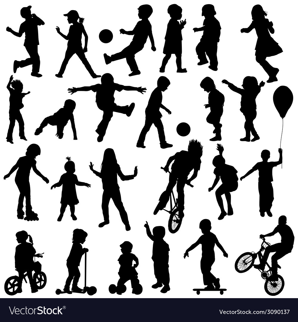 Group of active children hand drawn sillhouettes vector | Price: 1 Credit (USD $1)