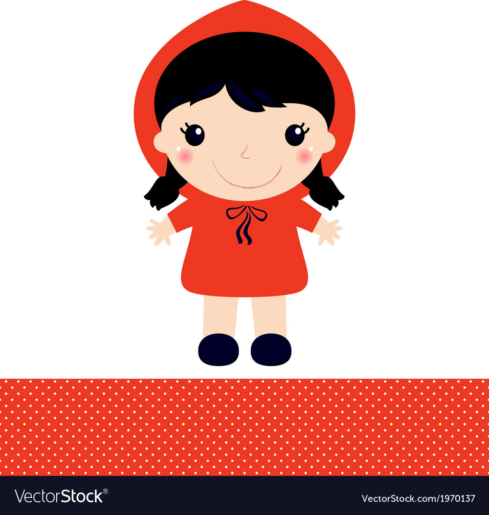 Little red riding hood isolated on white vector | Price: 1 Credit (USD $1)