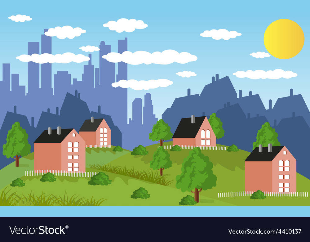 Suburban houses vector | Price: 3 Credit (USD $3)