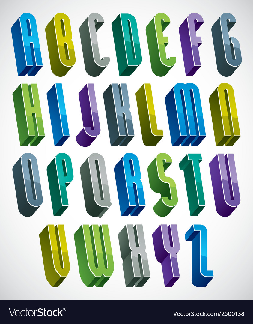 3d colorful letters tall alphabet made with round vector | Price: 1 Credit (USD $1)
