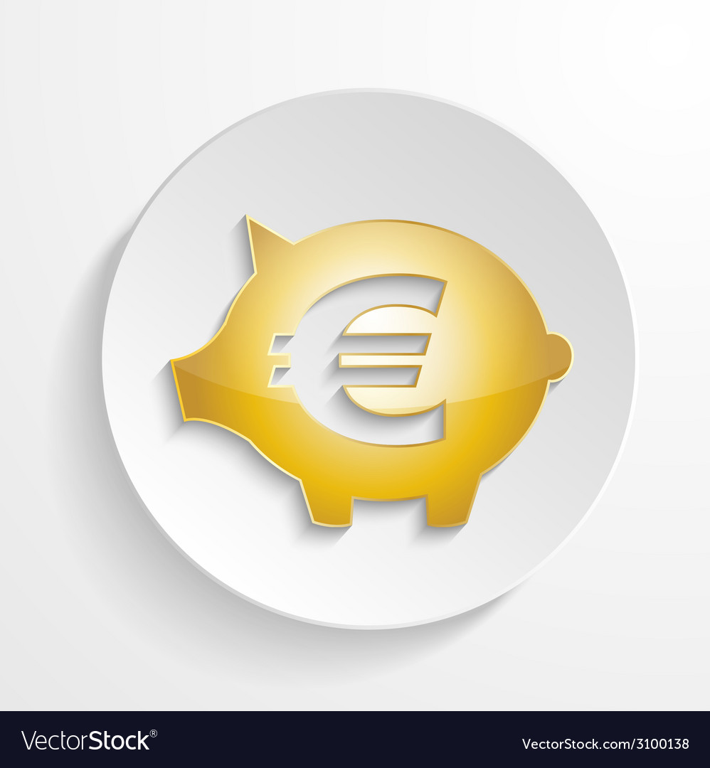 Button euro piggy bank design with shadow effect vector | Price: 1 Credit (USD $1)