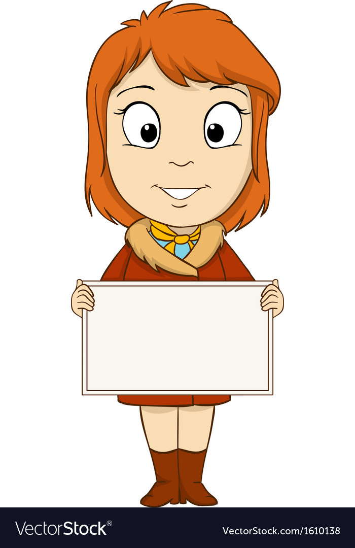 Cartoon young woman with empty board vector | Price: 1 Credit (USD $1)