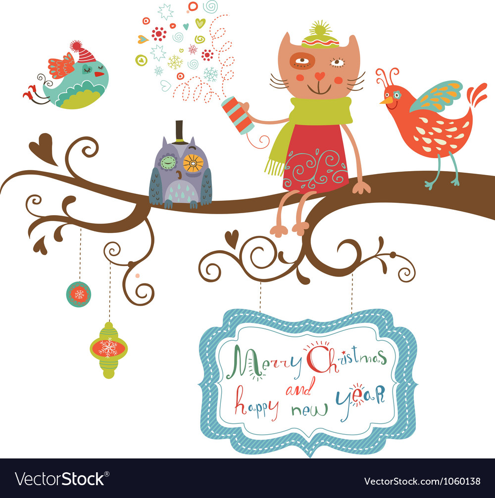 Christmas card cat and birds vector | Price: 1 Credit (USD $1)