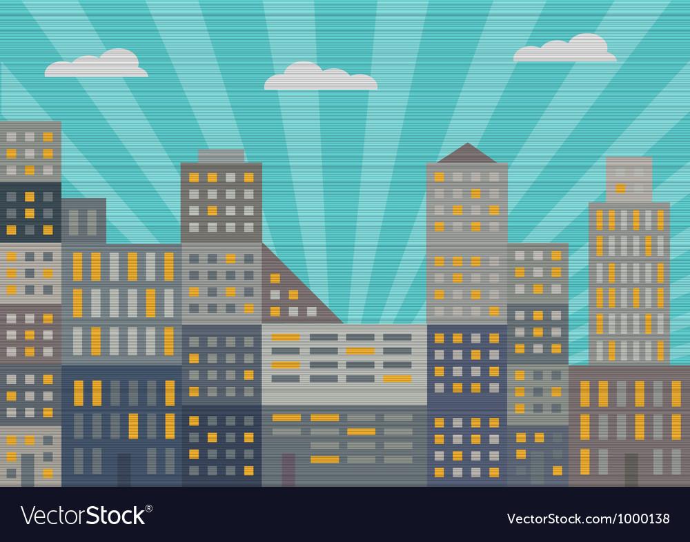 City in retro style vector | Price: 1 Credit (USD $1)