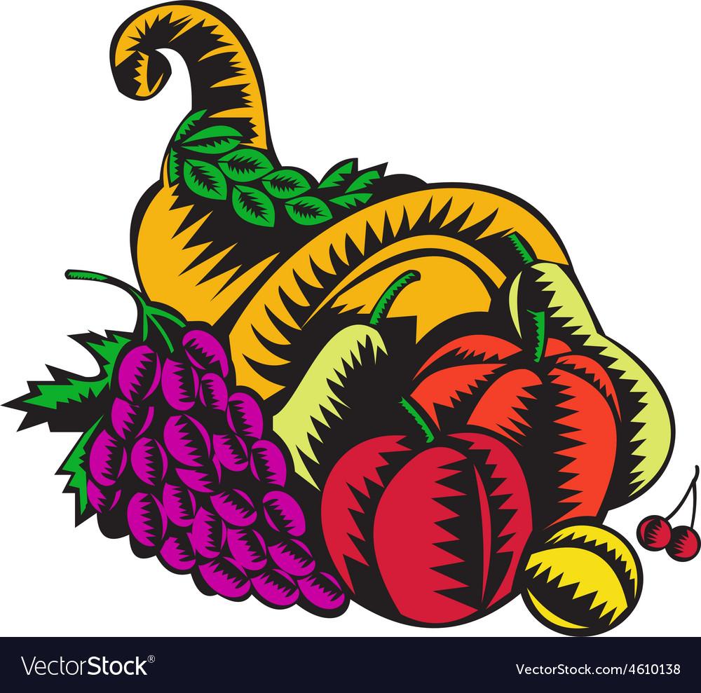 Cornucopia fruit harvest woodcut vector | Price: 1 Credit (USD $1)