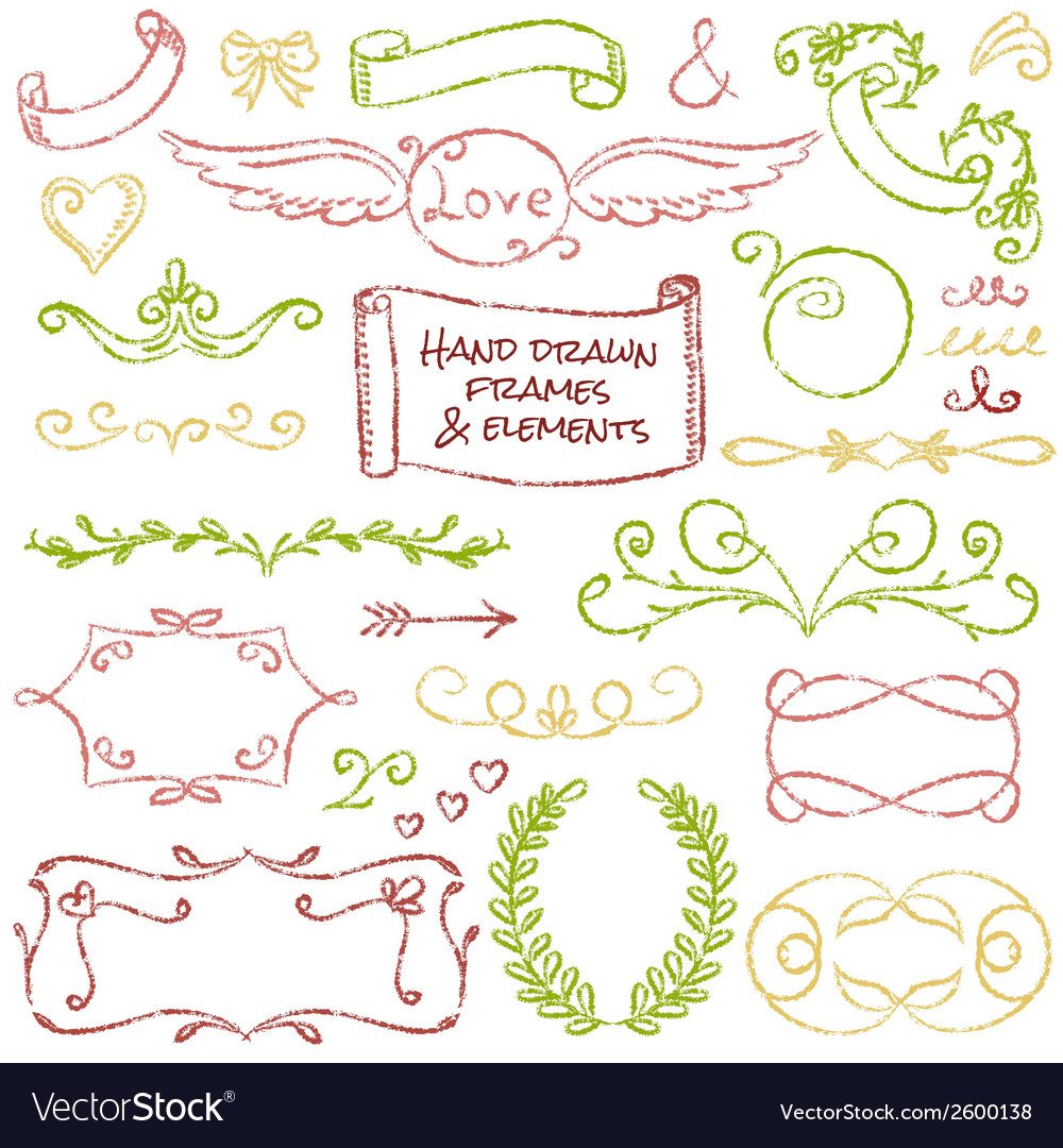 Hand-drawn elements set vector | Price: 1 Credit (USD $1)