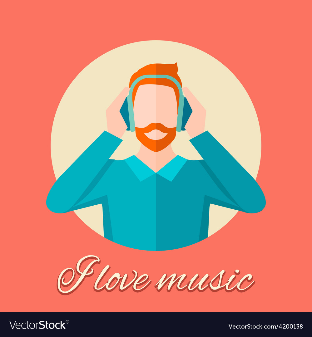 Man listening music vector | Price: 1 Credit (USD $1)