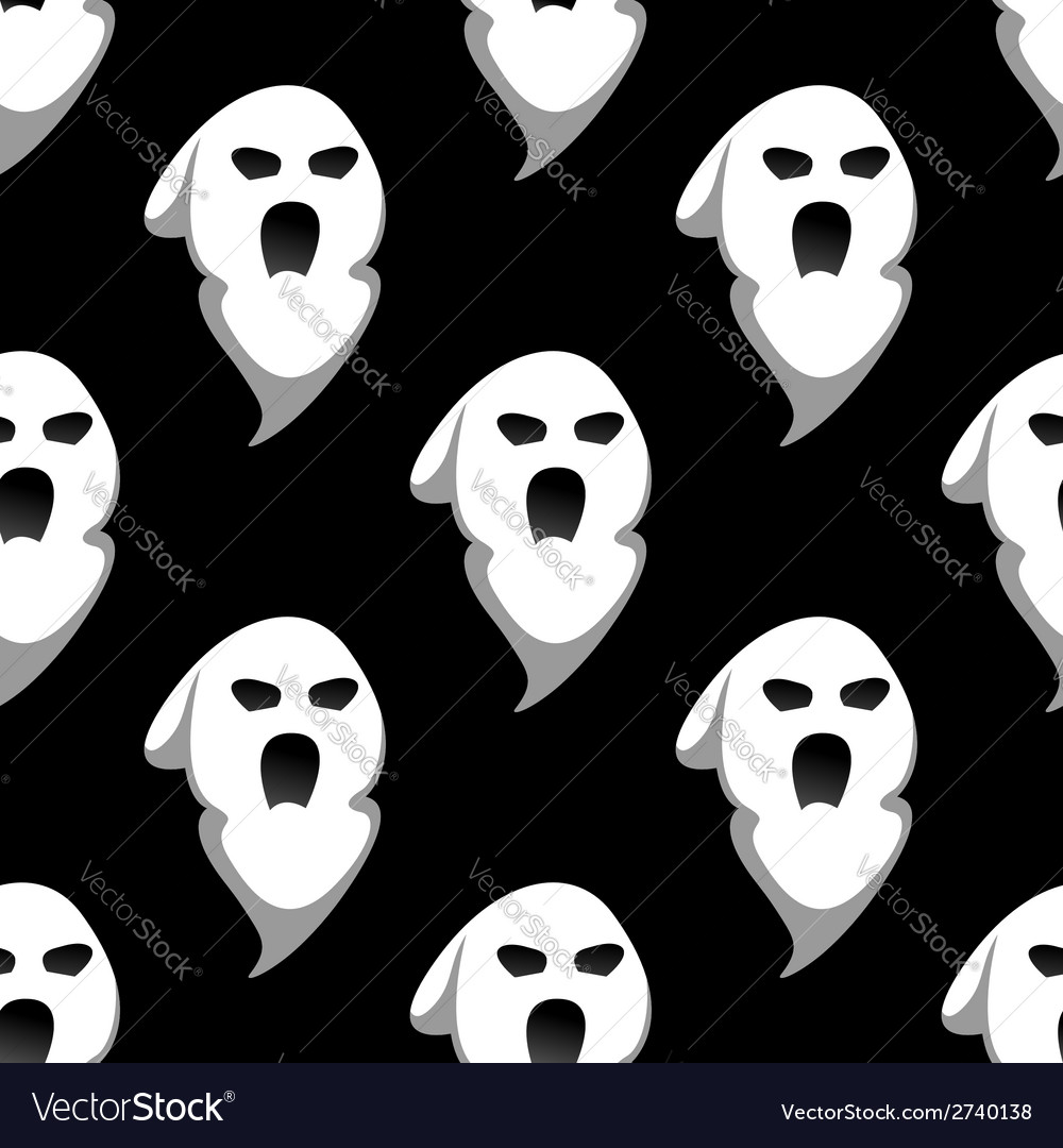 Night ghost halloween seamless pattern vector | Price: 1 Credit (USD $1)