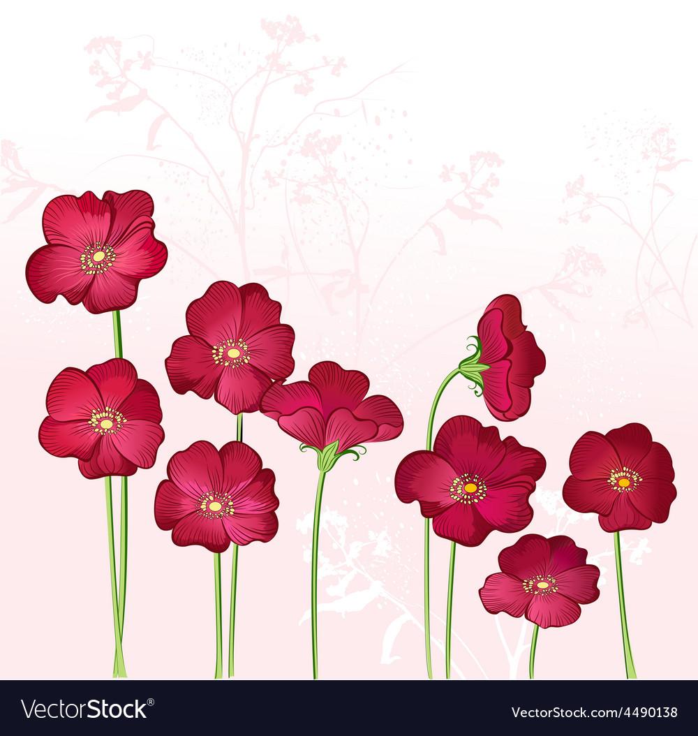 Red growings wild flowers vector | Price: 1 Credit (USD $1)