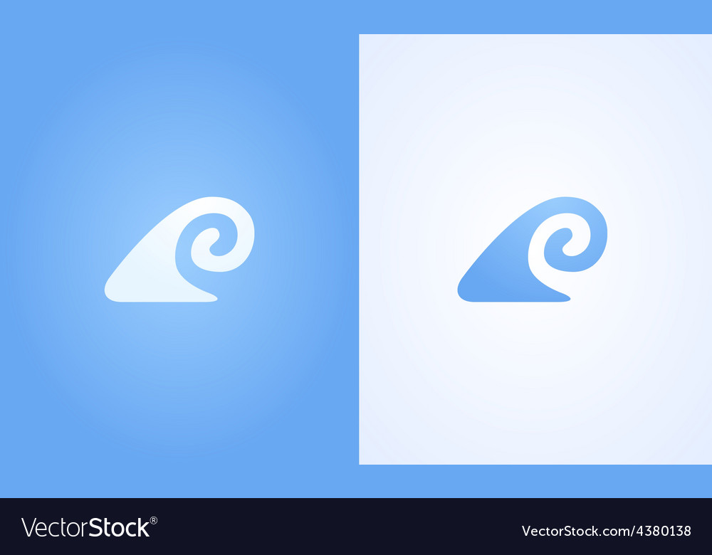 Sign of wave ripple on white and blue background vector | Price: 1 Credit (USD $1)