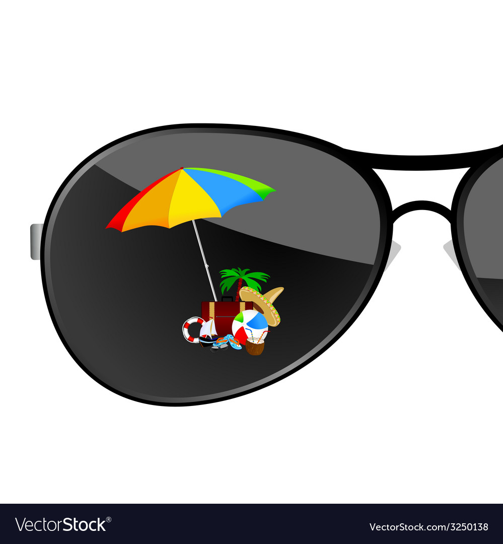 Sunglass with beach items art vector | Price: 1 Credit (USD $1)