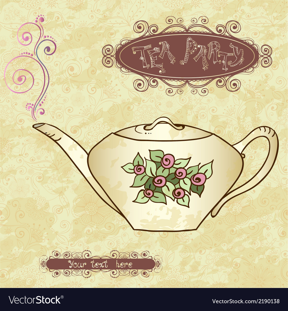 Tea party invitation card template vector | Price: 1 Credit (USD $1)