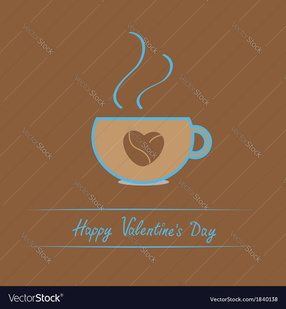 Teacup with coffee seeds heart valentines day vector | Price: 1 Credit (USD $1)