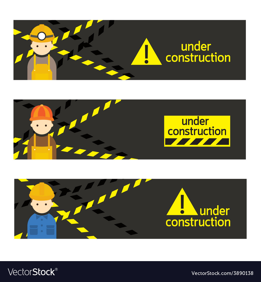 Worker craftsman with under construction banner vector | Price: 1 Credit (USD $1)