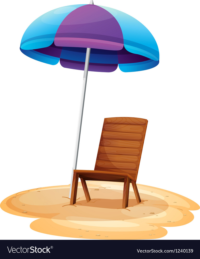 A stripe beach umbrella and a wooden chair vector | Price: 1 Credit (USD $1)