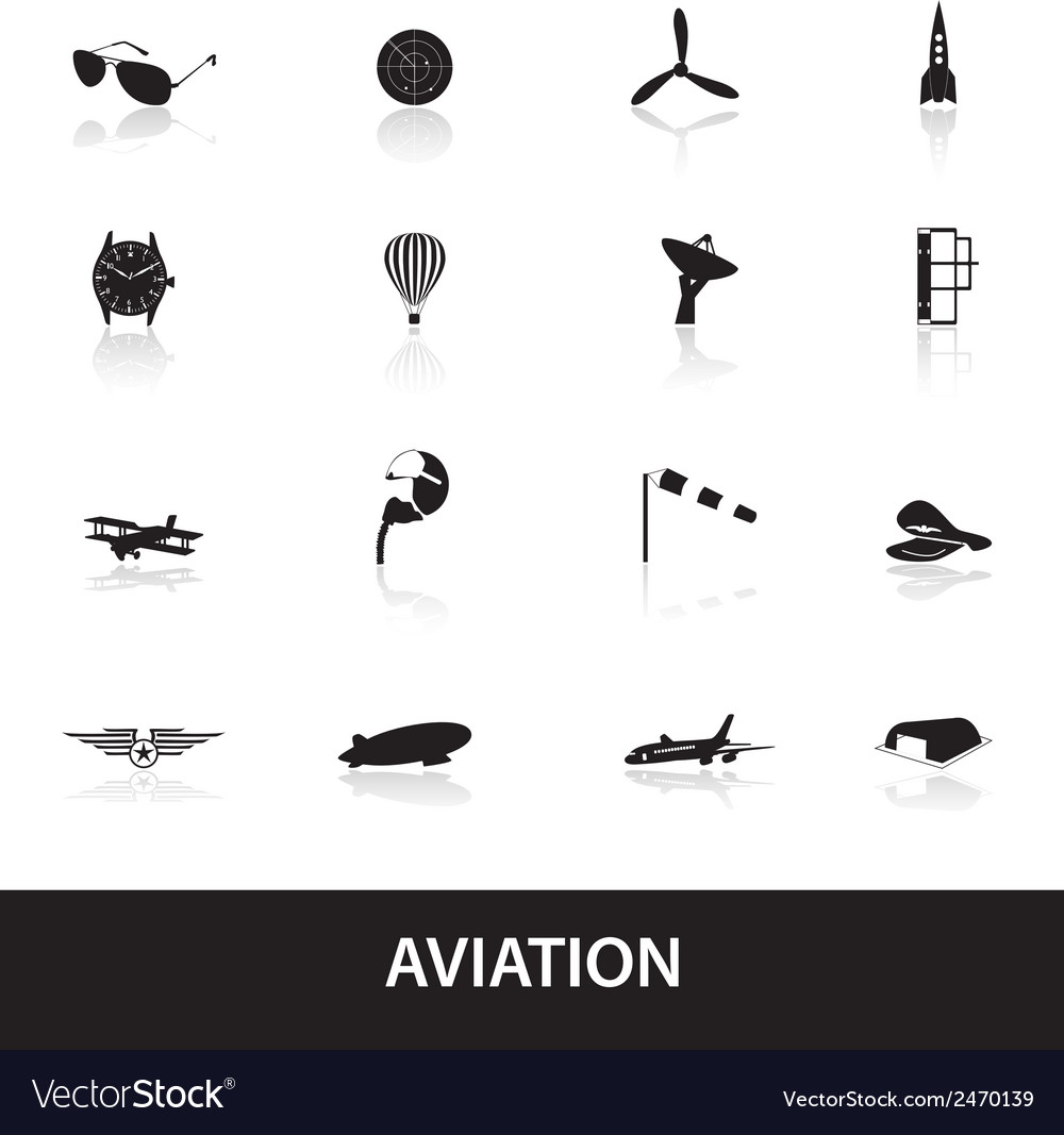 Aviation icons set eps10 vector | Price: 1 Credit (USD $1)