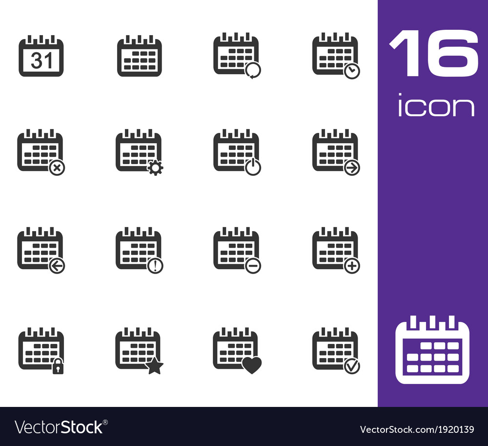 Black calendar icons on white background vector | Price: 1 Credit (USD $1)