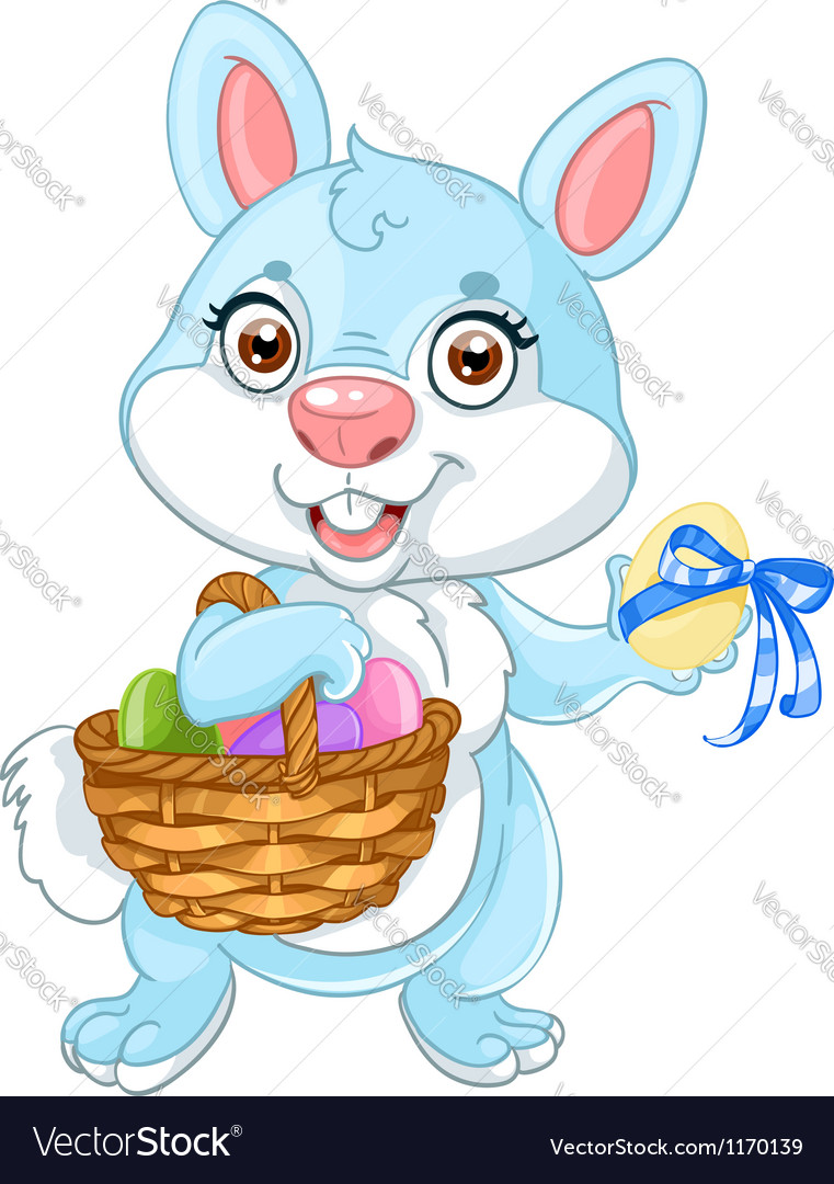 Cute easter bunny with basket of eggs vector | Price: 1 Credit (USD $1)