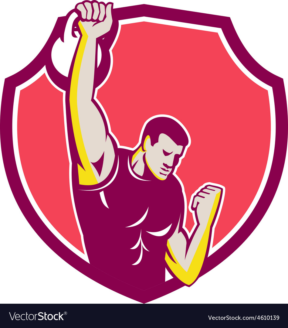 Kettlebell one-arm high pull retro vector | Price: 1 Credit (USD $1)