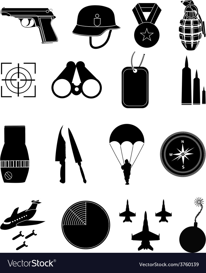 Military icons set vector | Price: 3 Credit (USD $3)