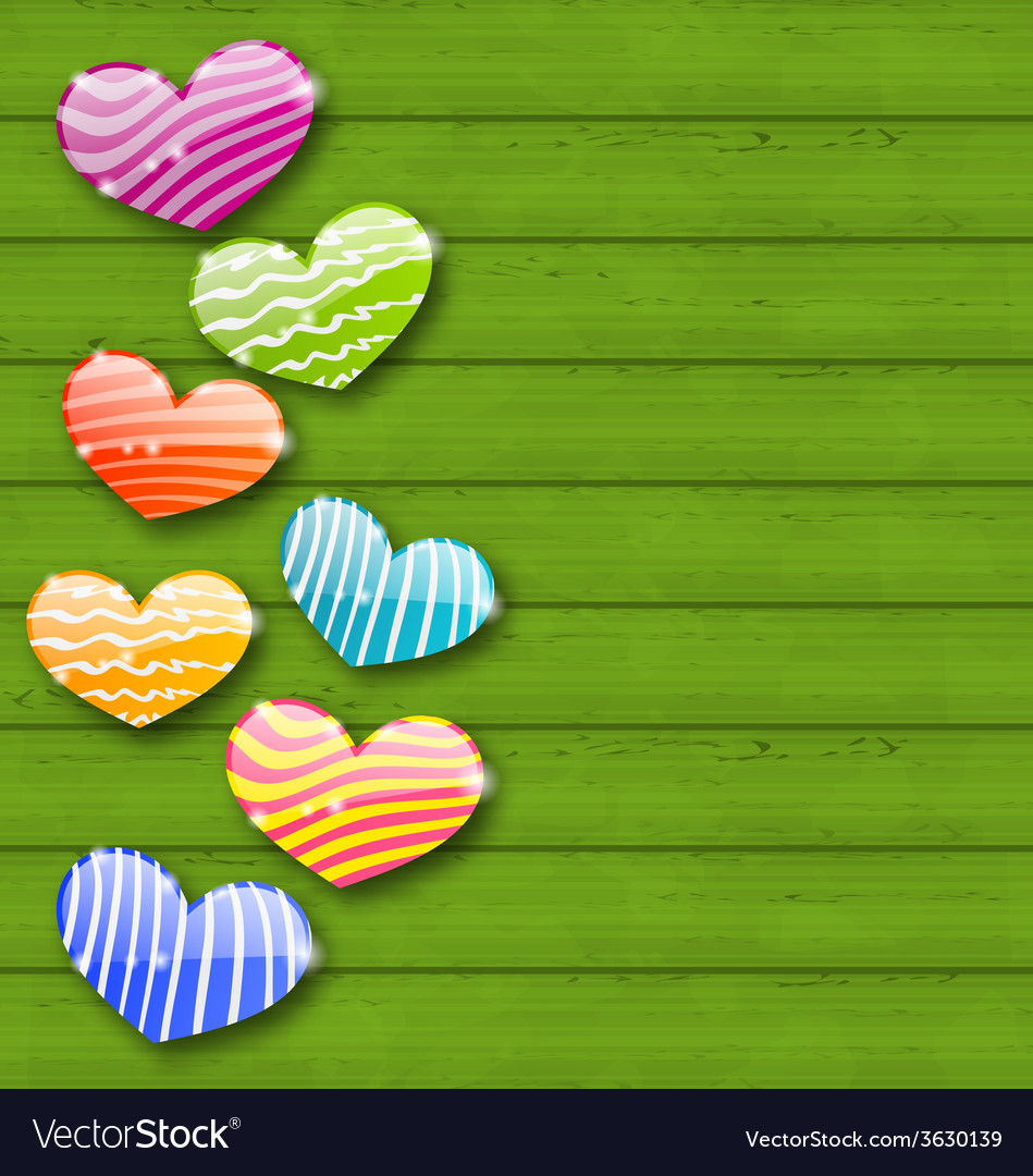 Multicolored striped hearts on green wooden vector | Price: 1 Credit (USD $1)