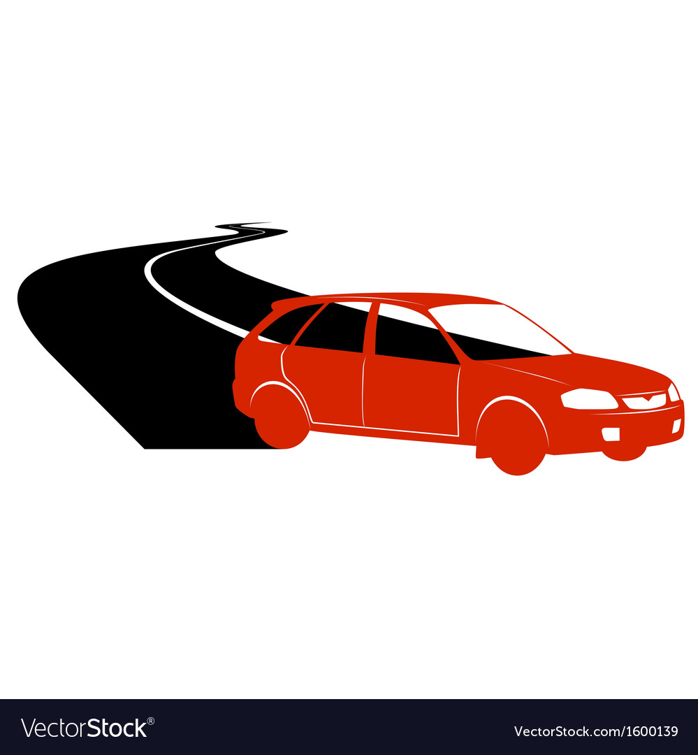 Passenger car on the road vector | Price: 1 Credit (USD $1)
