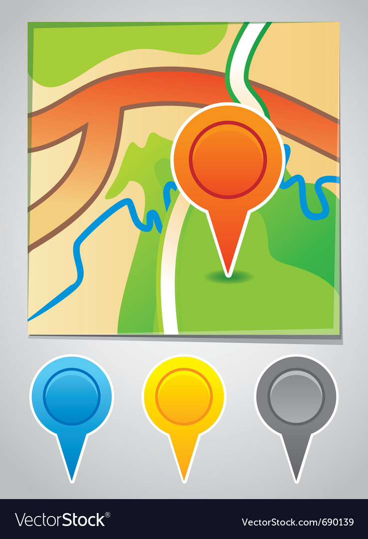 Road map markers vector | Price: 1 Credit (USD $1)