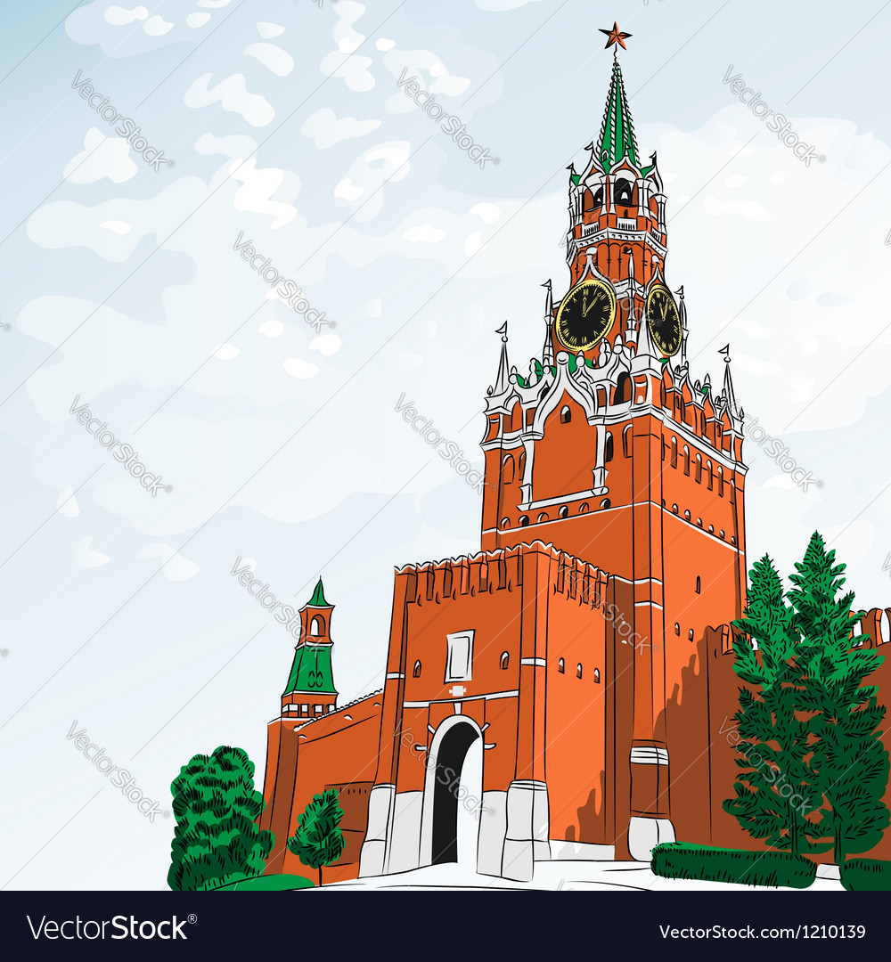Spasskaya tower of the moscow kremlin russi vector | Price: 1 Credit (USD $1)