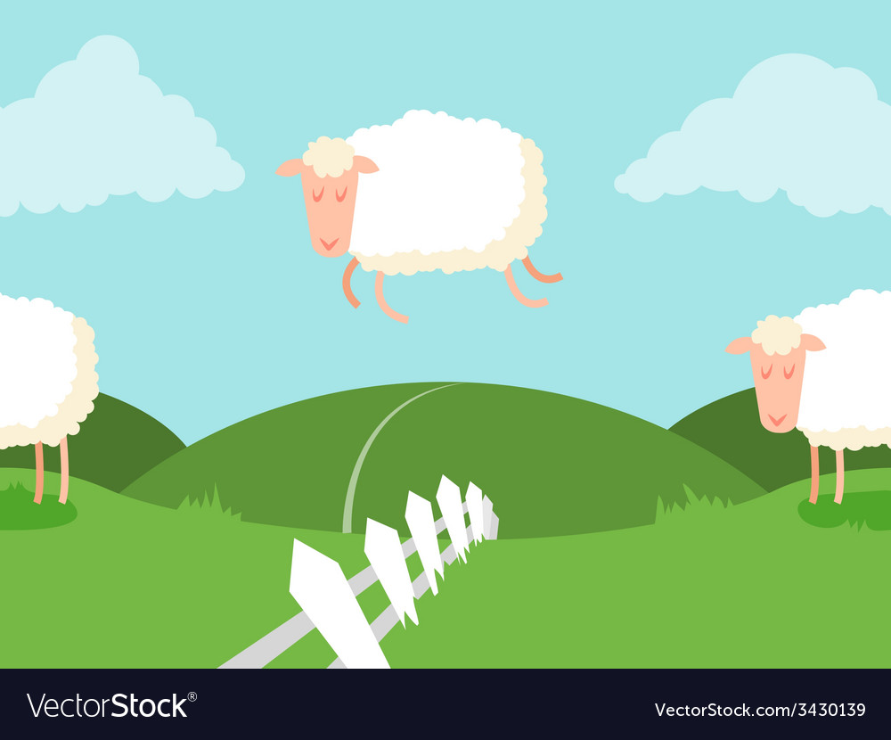 Tileable sheep jumping over the fence vector | Price: 1 Credit (USD $1)