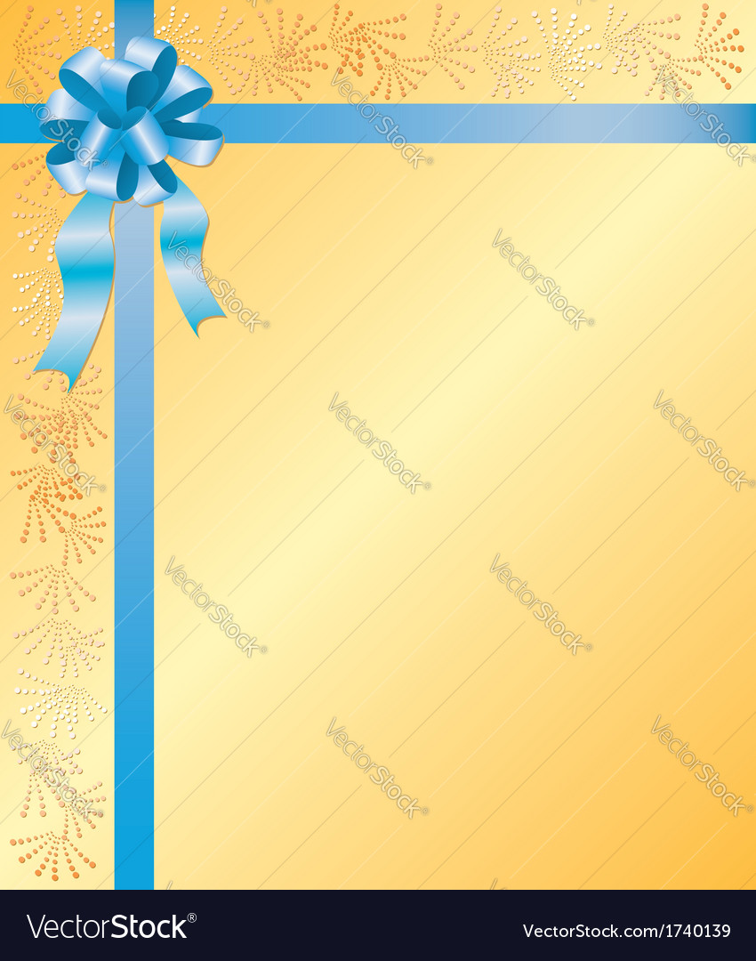 Yellow card with blue ribbon vector | Price: 1 Credit (USD $1)