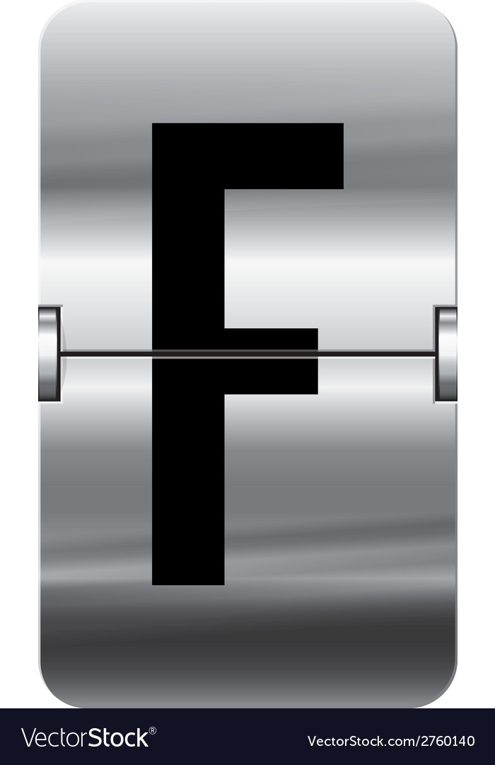 Alphabet silver flipboard letters f vector | Price: 1 Credit (USD $1)