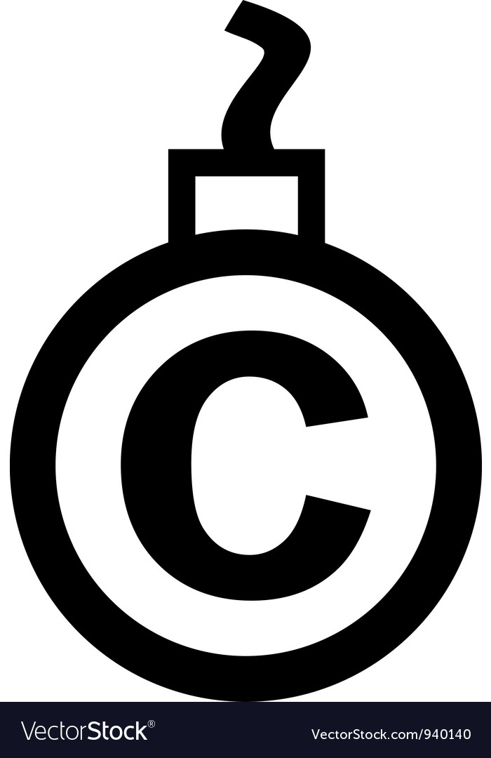 Cannonball-shaped copyright sign vector | Price: 1 Credit (USD $1)