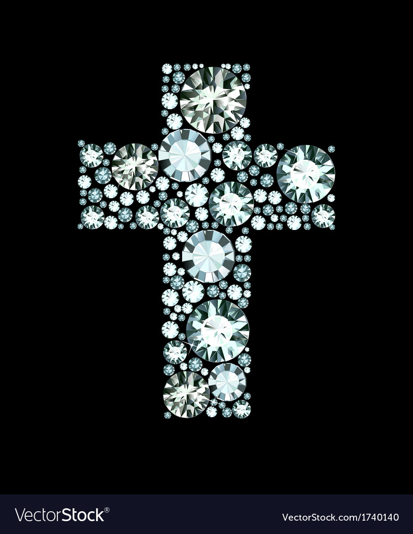 Diamond christian cross vector | Price: 1 Credit (USD $1)