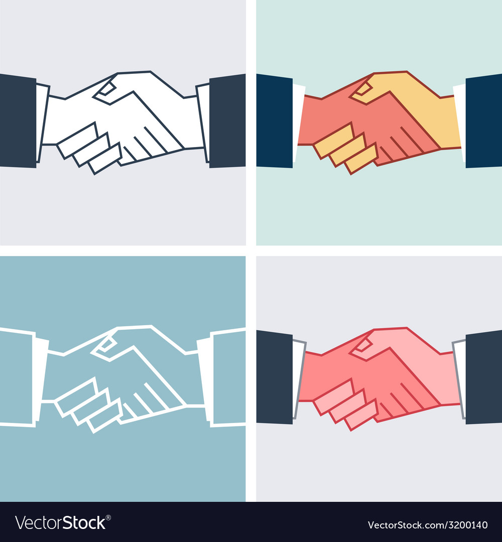Flat handshake icons business vector | Price: 1 Credit (USD $1)