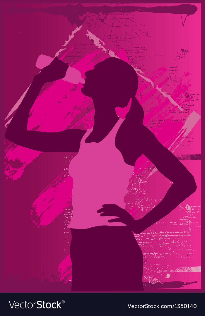 Girl drinking water vector | Price: 3 Credit (USD $3)