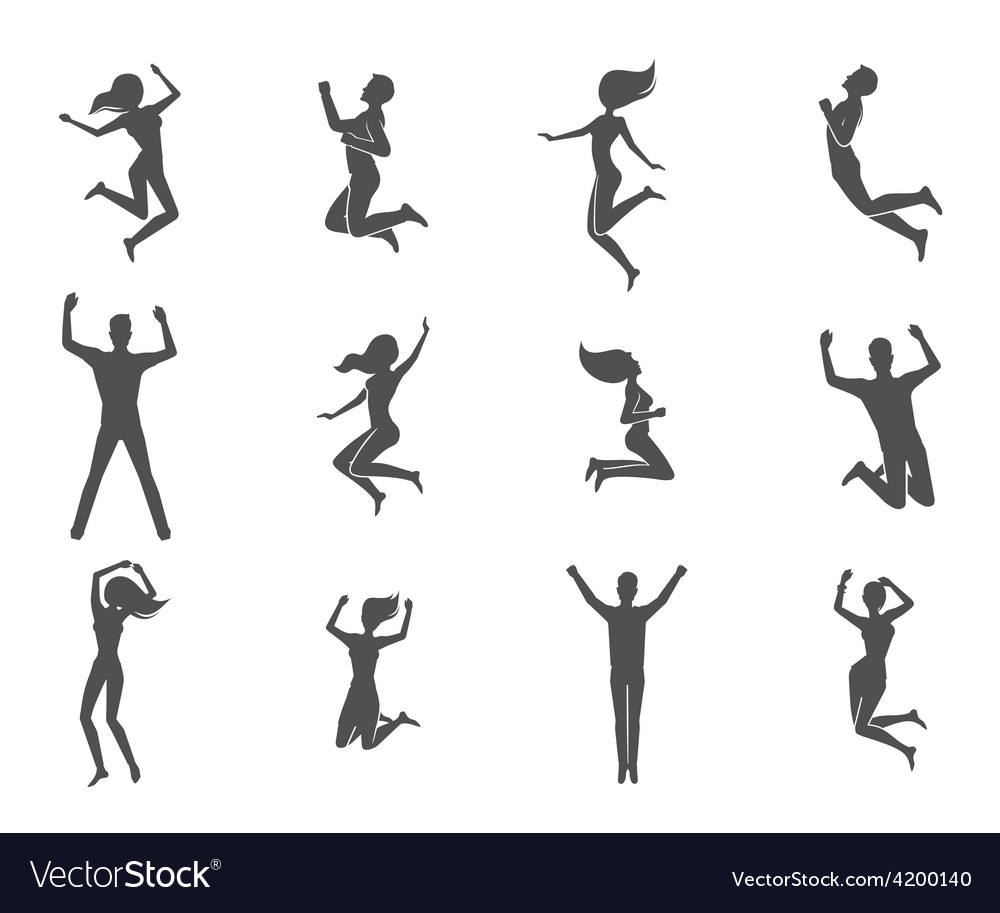 Jumping people set vector | Price: 1 Credit (USD $1)