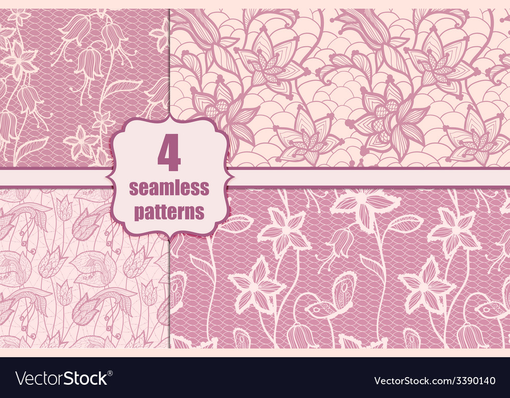 Lacy seamless pattern set vector | Price: 1 Credit (USD $1)