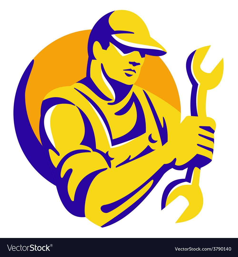 Mechanic worker holding spanner wrench retro vector | Price: 1 Credit (USD $1)