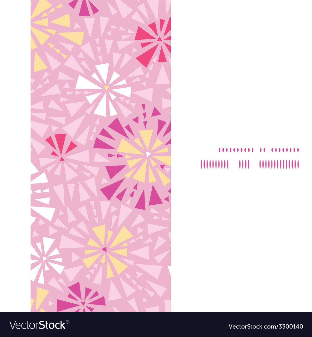 Pink abstract triangles vertical frame seamless vector | Price: 1 Credit (USD $1)