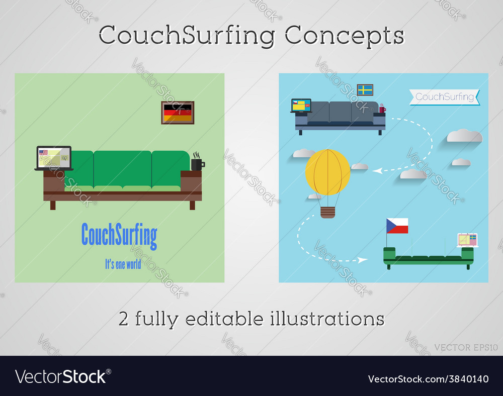 Set of couch surfing concept travel infographic vector   Price: 1 Credit (USD $1)