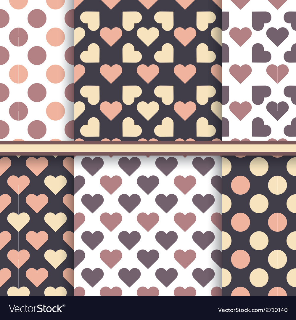 Set of seamless patterns made with hearts and dot vector | Price: 1 Credit (USD $1)